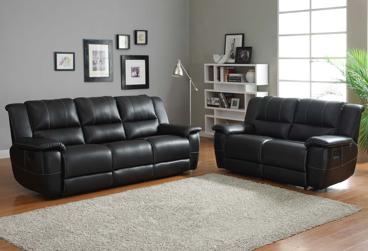 Homelegance Cantrell Reclining Sofa Set - Black - Bonded Leather Match