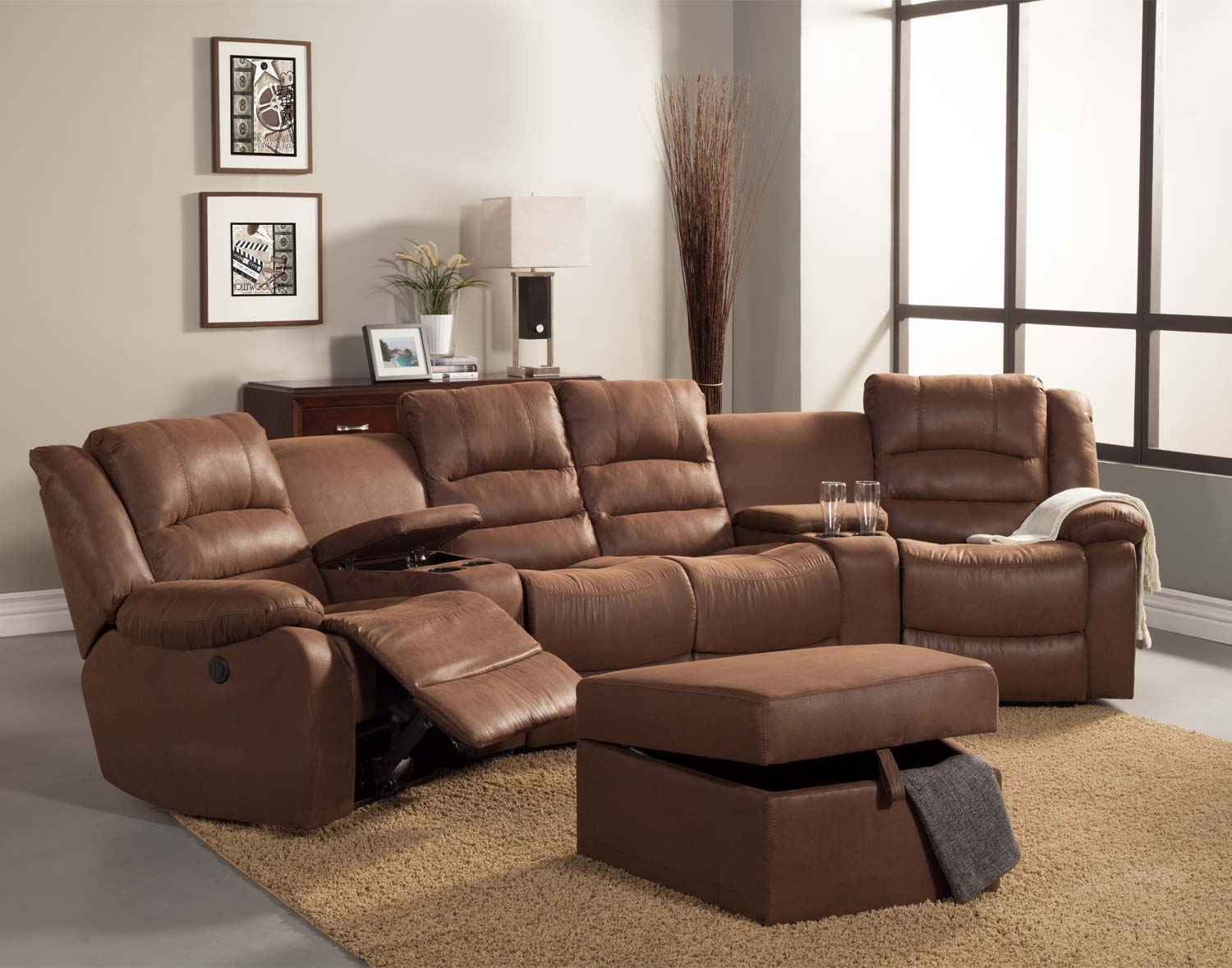 Homelegance Tucker Sectional Sofa Set Brown Bomber Jacket Microfiber U9799 SECT P 50752 on ashley brown microfiber reclining couch