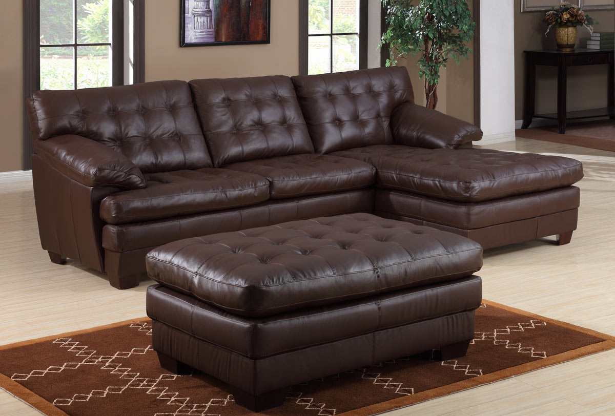 Homelegance 9817 All Leather Sectional Sofa Brown 9817BRWL