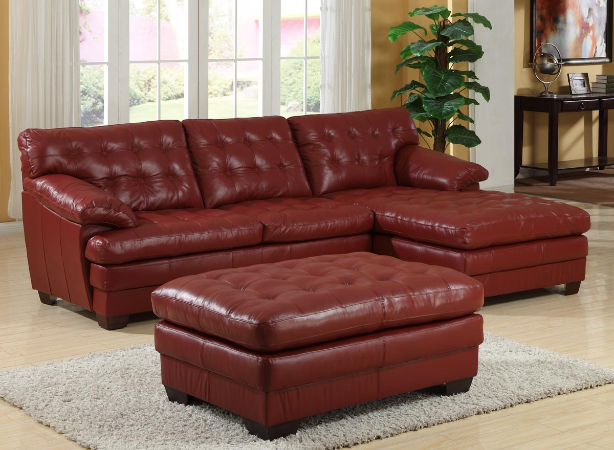 Homelegance 9817 all leather sectional sofa set red for Couch sofa set