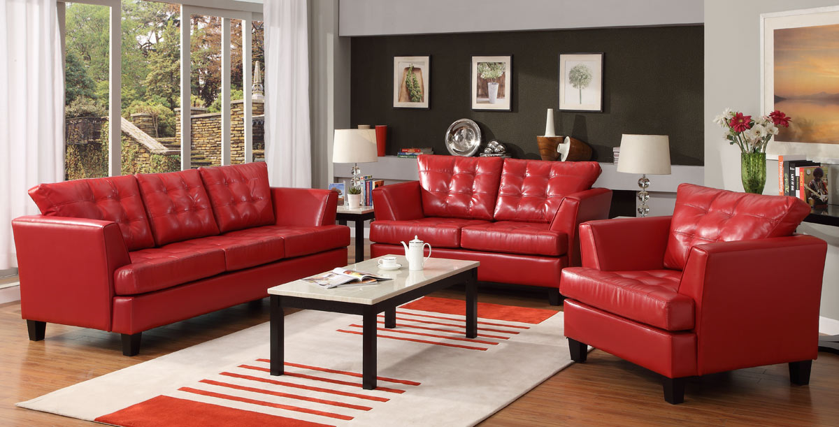 homelegance della all bonded leather sofa set red u9994red. Black Bedroom Furniture Sets. Home Design Ideas