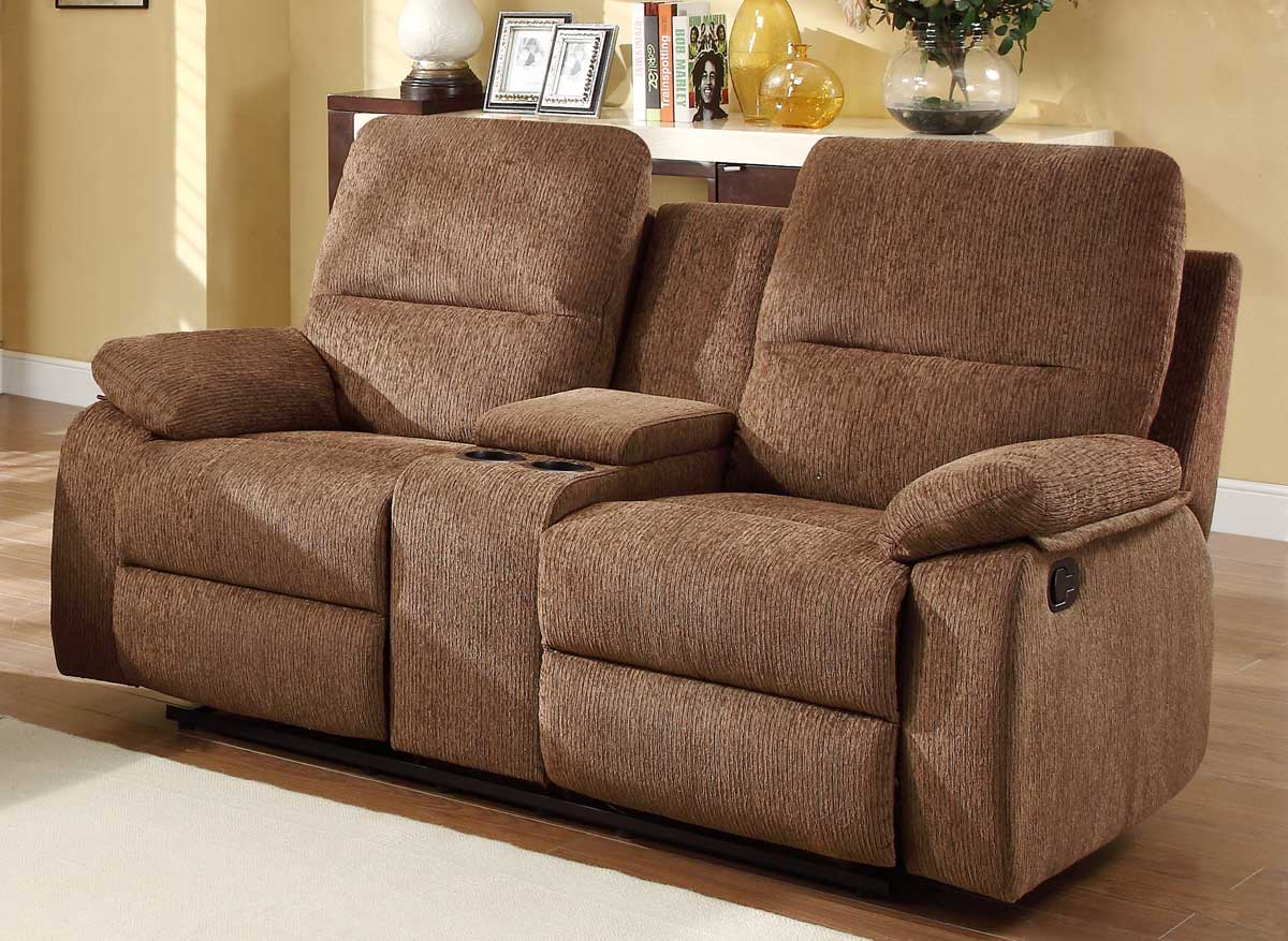 Homelegance Marianna Double Reclining Love Seat with Center Console - Dark Brown Chenille