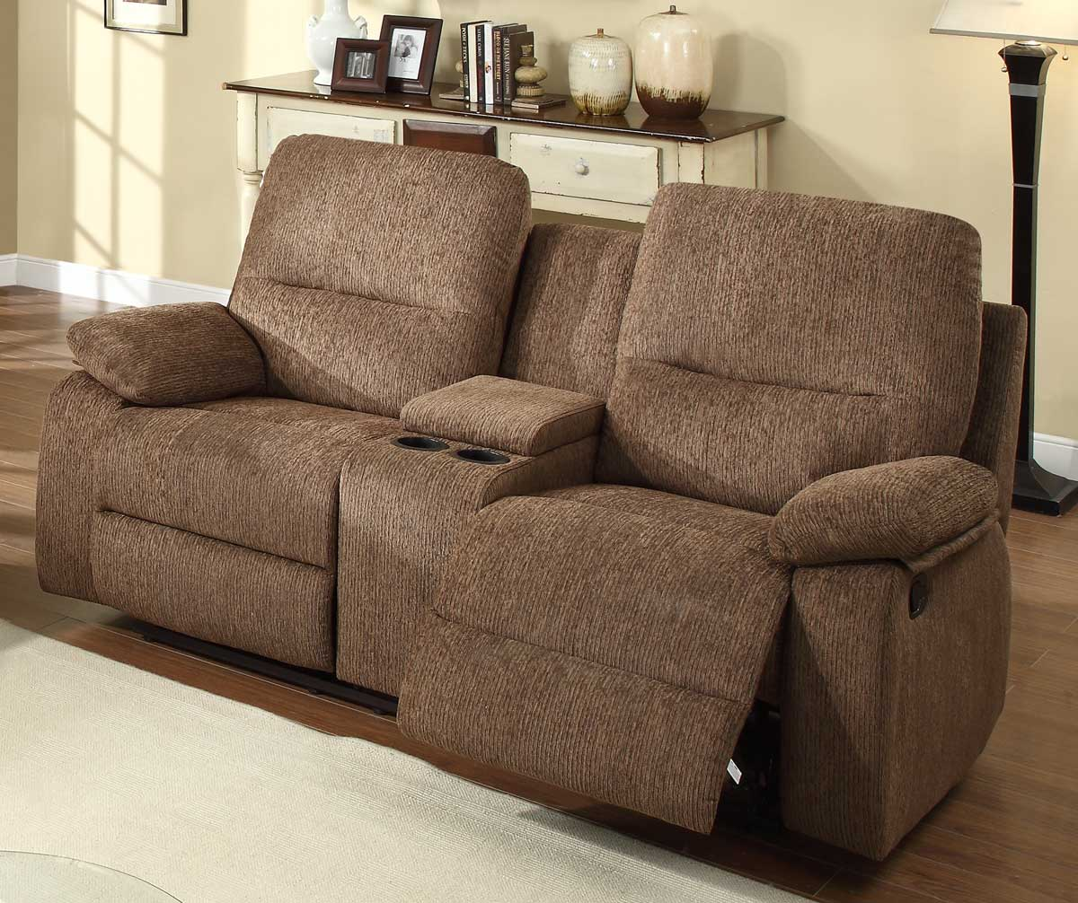 Homelegance Marianna Double Reclining Love Seat with Center Console - Dark Brown Chenille : chaise love seat - Sectionals, Sofas & Couches