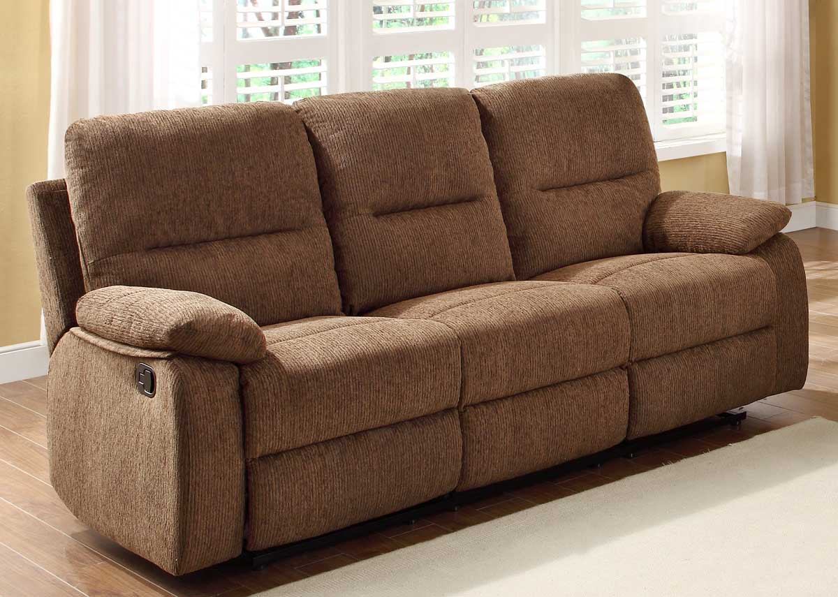 Homelegance marianna double reclining sofa with center drop down cup holders dark brown Loveseat with cup holders