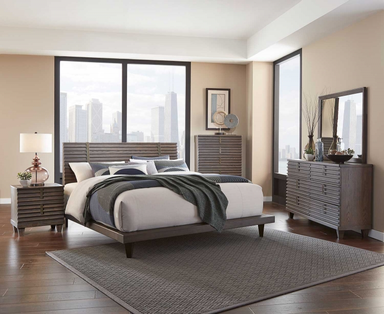 Ridgewood Platform Bedroom Set - Rustic Burnished Oak