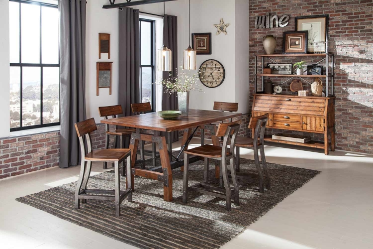 Holverson Counter Height Dining Set - Rustic Brown