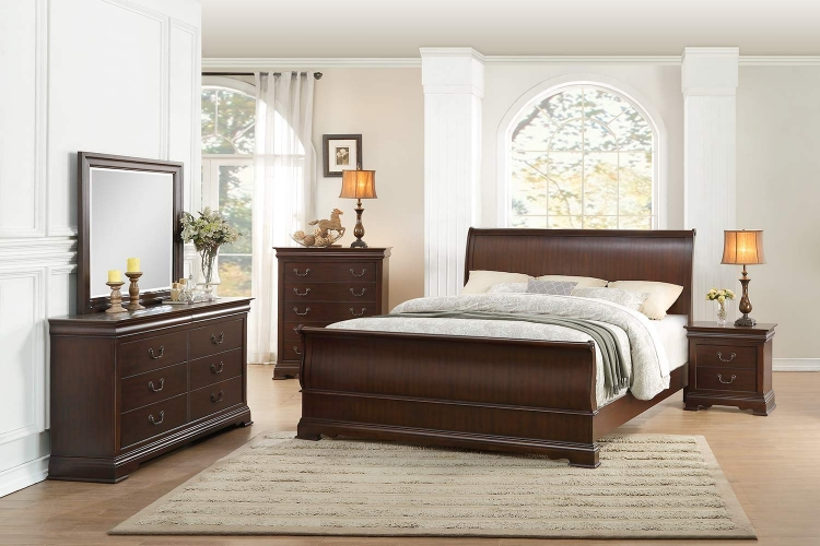 Clematis Sleigh Bedroom Set - Cherry