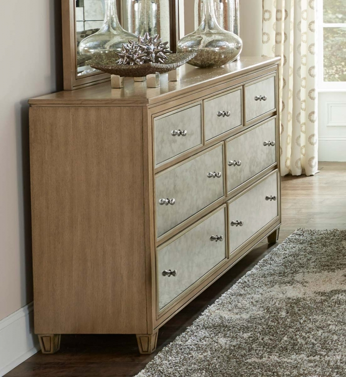 Kalette Dresser - Light Oak - Antiqued mirrored