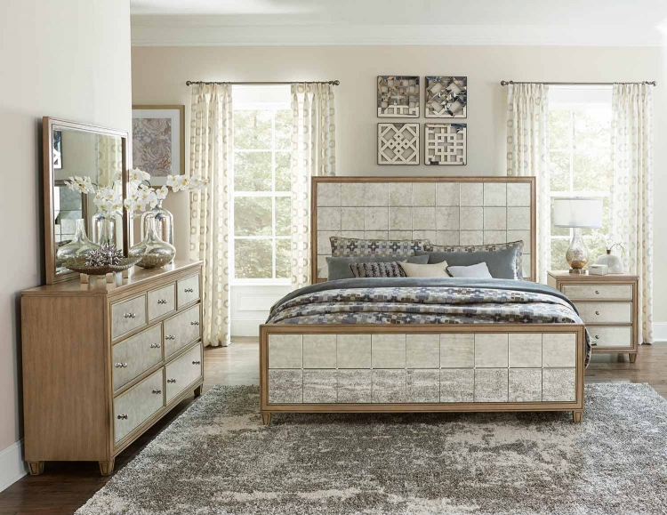 Kalette Panel Bedroom Set - Light Oak - Antiqued mirrored