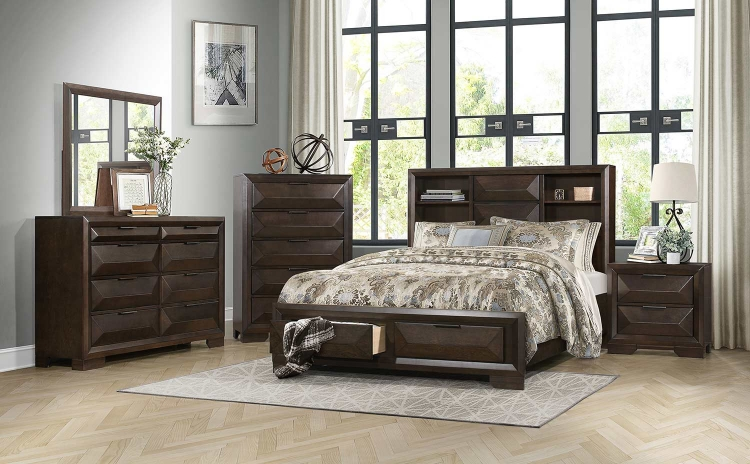 Chesky Platform Storage Bedroom Set - Warm Espresso