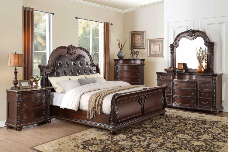 Cavalier Sleigh Bedroom Set - Dark Cherry - Brown Bi-Cast Vinyl