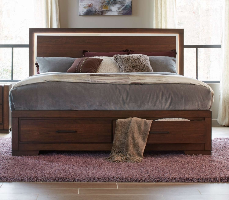 Ingrando Platform Bed - Walnut - LED