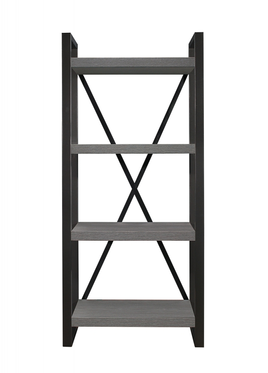 Dogue 4-Shelf Bookcase - Gunmetal - Gray