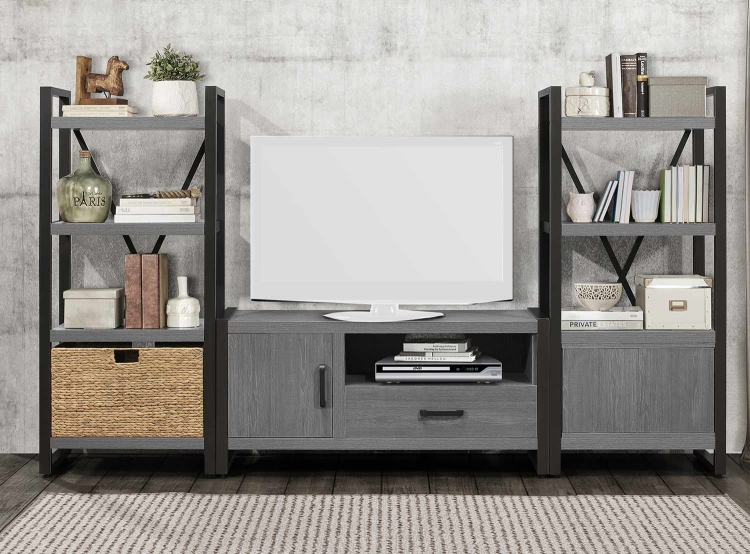 Dogue 51-inch Entertainment Center Set - Gunmetal - Gray