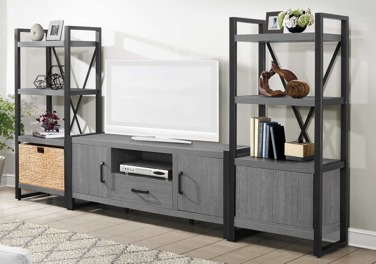 Dogue 63-inch Entertainment Center Set - Gunmetal - Gray