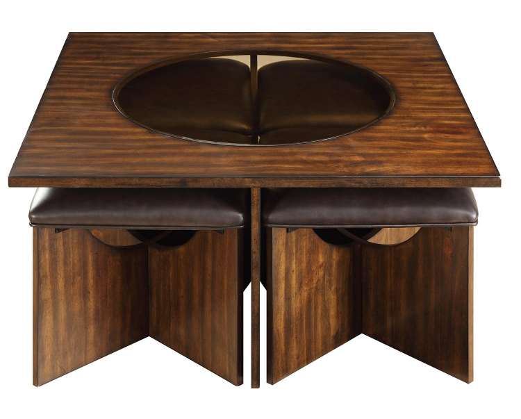Akita Cocktail/Coffee Table with Four Stools - Cherry