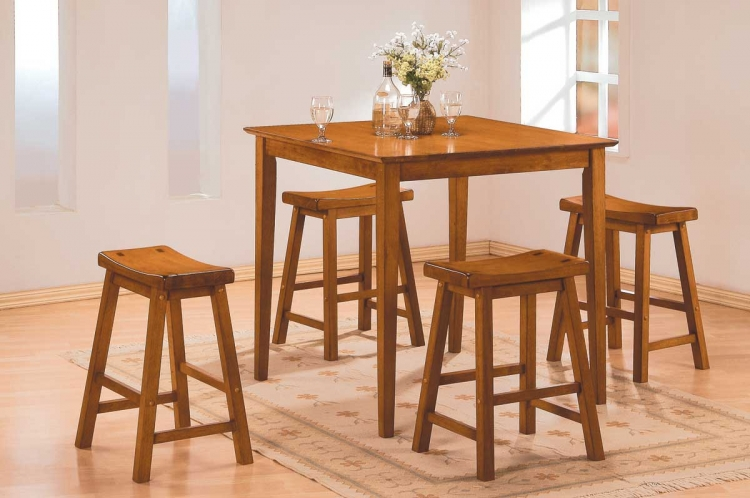 Saddleback 5 Pc Dinette Set in Oak Finish