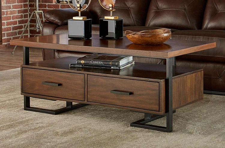Sedley Cocktail/Coffee Table with Two Functional Drawers - Walnut Veneer