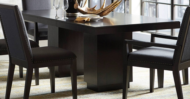 Larchmont Dining Table - Charcoal - Over Ash Veneer.