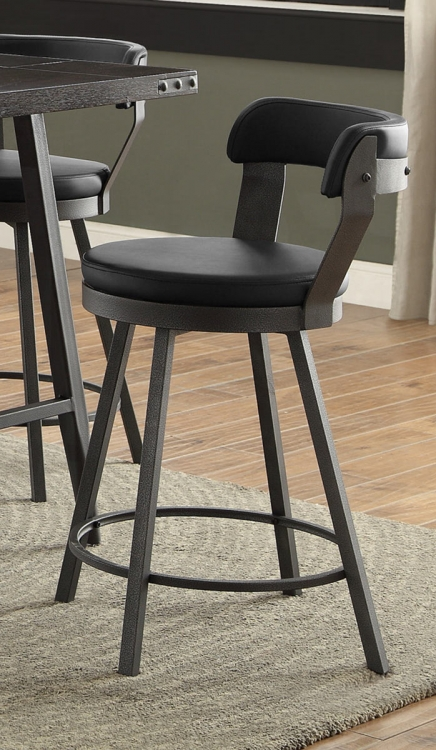 Appert Swivel Pub Height Chair - Black - Black Bi-Cast Vinyl