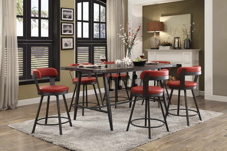 Appert Counter Height Dining Set - Red - Black Bi-Cast Vinyl