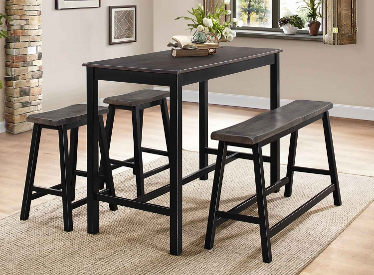 Visby 4-Piece Pack Counter Height Set - Brown