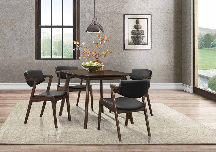 Coel Dining Set - Dark Ash Venner - Black Bi-Cast Vinyl