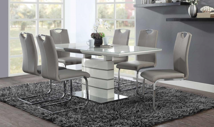 Glissand Dining Set - Gloss White - Grey-Taupe Bi-Cast Vinyl