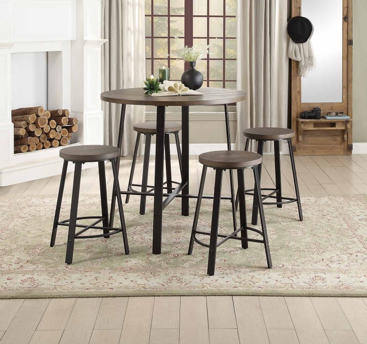 Chevre Round Counter Height Dining Set - Rustic - Gray Metal