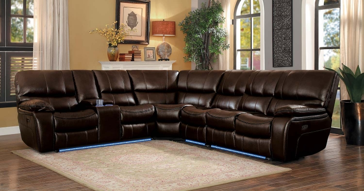 Pecos Power Sectional Sofa Set - Dark Brown