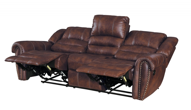 Center Hill Double Reclining Sofa - Dark Brown