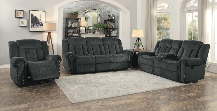 Nutmeg Reclining Sofa Set - Charcoal Gray
