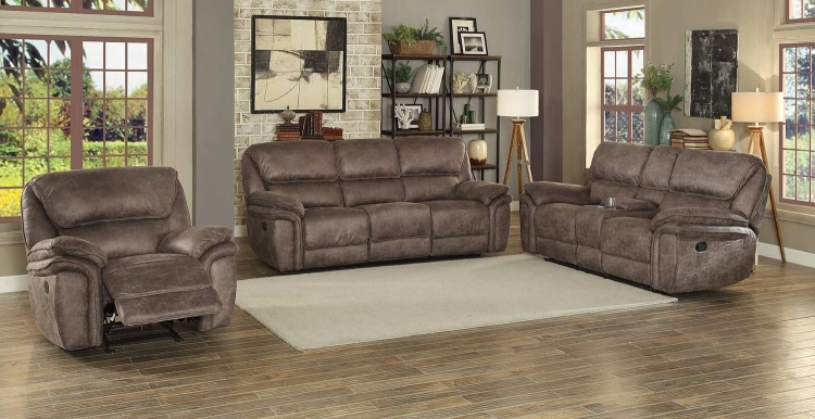 Hadden Double Reclining Sofa Set - Dark Brown