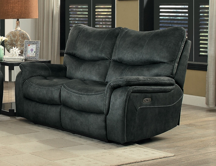 Goby Power Double Reclining Love Seat With Power Headrests - Dark Gray