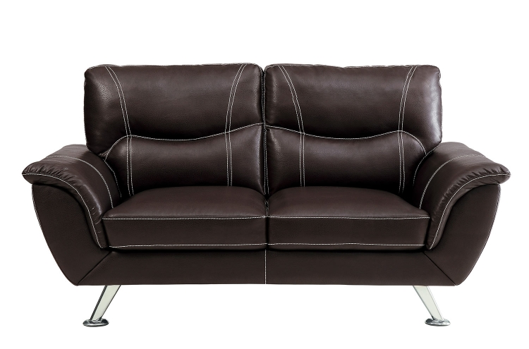 Jambul Love Seat - Dark Brown - Dark brown bi-cast vinyl