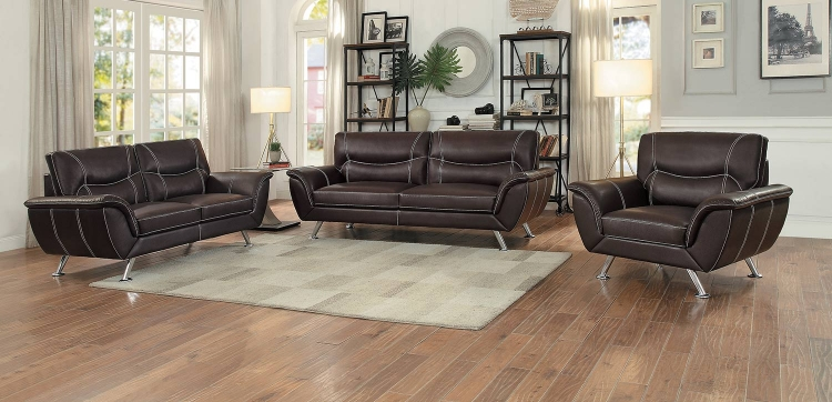 Jambul Sofa Set - Dark Brown - Dark brown bi-cast vinyl