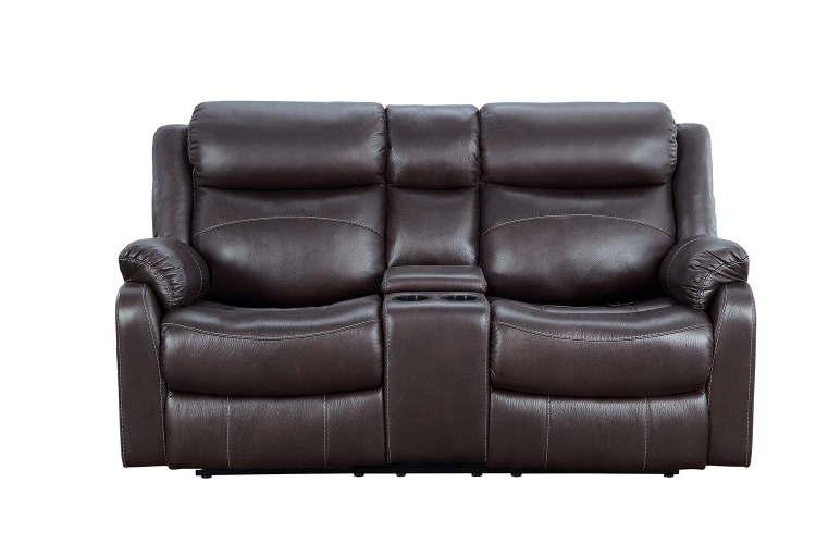 Yerba Double Lay Flat Reclining Love Seat With Center Console - Dark Brown