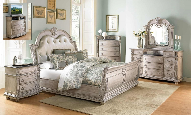 Palace II Bedroom Set - Weathered White Rub-Through