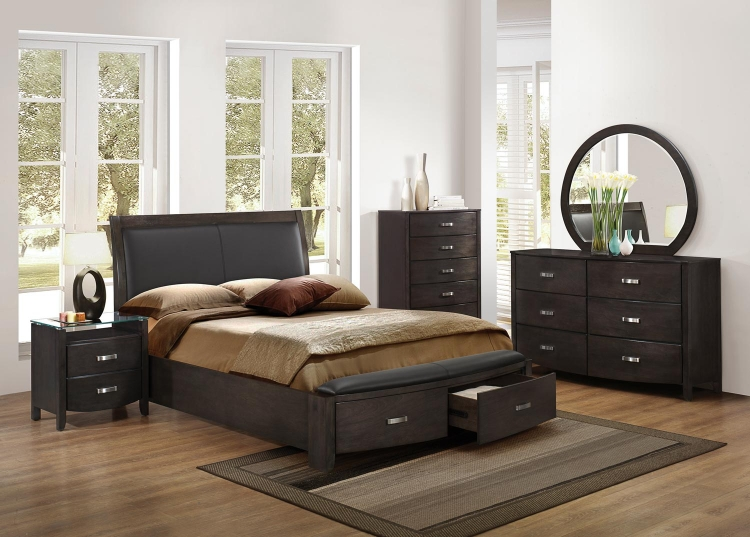 Lyric Upholstered Sleigh Platform Storage Bedroom Set