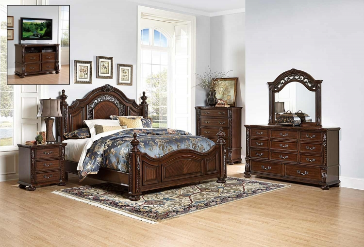 Augustine Court Bedroom Set - Rich Brown Cherry