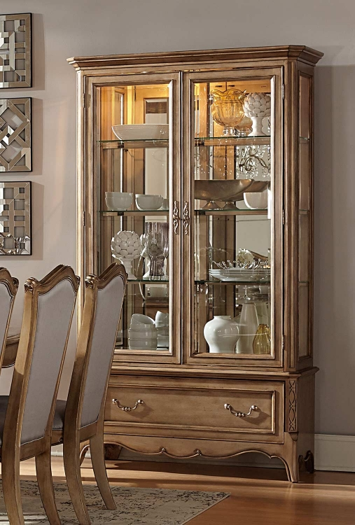 Chambord China Cabinet - Antique Gold