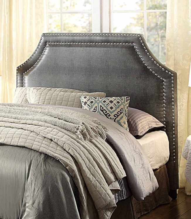 Portrero Upholstered Headboard - Grey Alligator Bi-Cast Vinyl