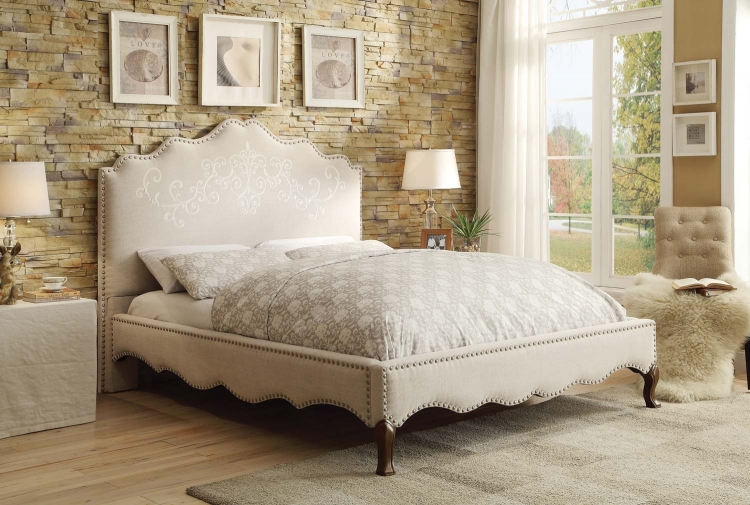 Kaine Upholstered Platform Bed - Beige Fabric