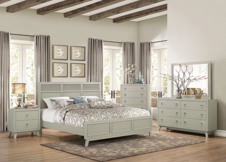 Valpico Panel Bedroom Set - Cool Grey/Olive Undertone
