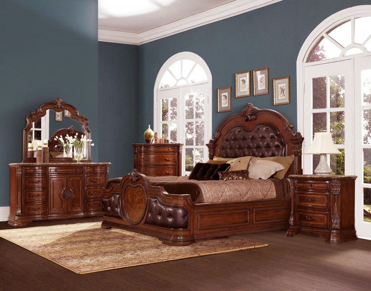 Antoinetta Upholstered Bedroom Set - Warm Cherry