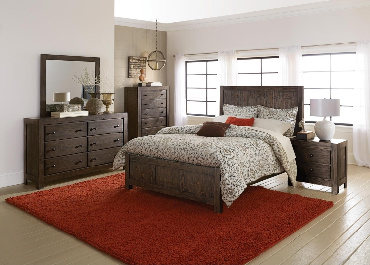 Farrin Panel Bedroom Set - Dark Rustic Pine