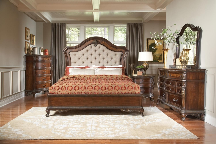 Bonaventure Park Upholstered Bedroom Set - Warm Cherry