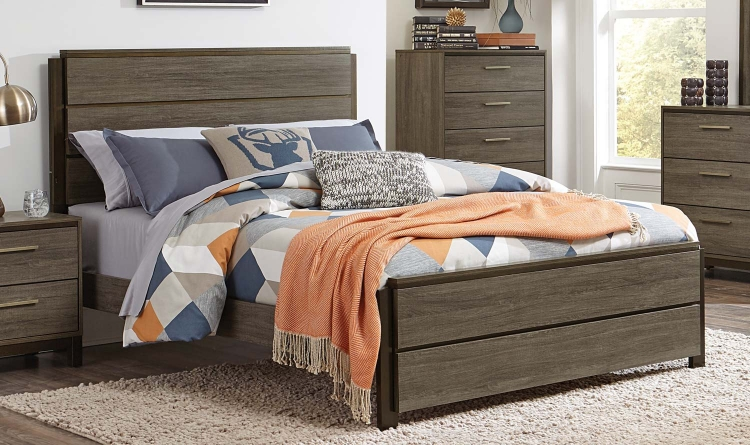 Vestavia Panel Bed - Grey/Dark Brown
