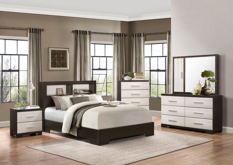 Pell Low Profile Storage Bookcase Bedroom Set - Two-tone Espresso/White