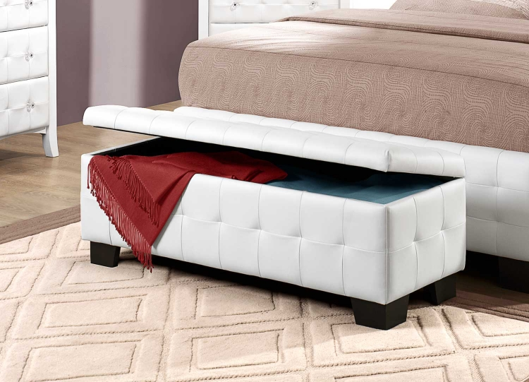 Sparkle Upholstered Storage Bench - White